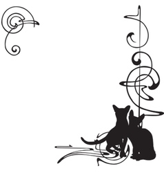 frame with a pattern and cats vector image vector image