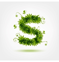 Green eco letter S for your design vector image