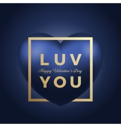 Love you heart on blue background golden vector