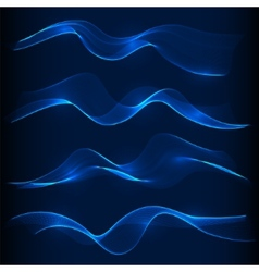 Set of blue smoke wave in dark background vector image