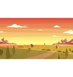 Sunset landscape Cartoon vector image
