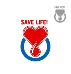 Blood donation symbol with heart and blood drop vector image vector image