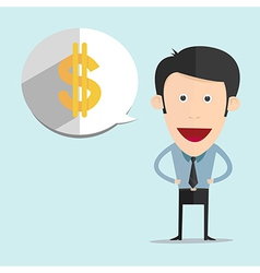 cartoon with dollar bubble in flat style vector image vector image