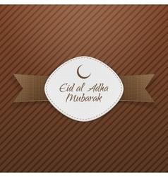 Eid al-adha mubarak tag with ribbon vector