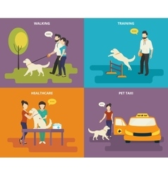 Family with pet concept flat icons set vector image vector image
