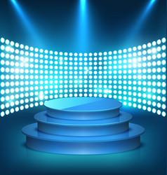 illuminated festive shiny blue stage podium with vector image