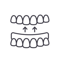 implanted teeth line icon sign vector image vector image