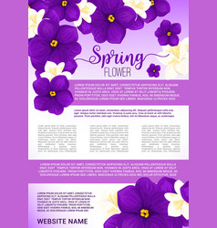 spring flower bouquet greeting poster template vector image vector image