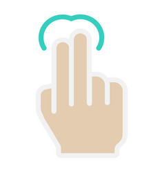 2 finger tap flat icon touch and hand gestures vector image