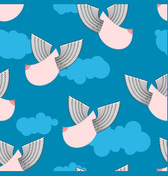 boobs with wings flying pattern flying tit vector image vector image