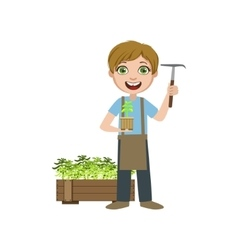 Boy In Apron With A Chopper vector image vector image