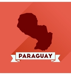Flat icon with long shadow map of paraguay vector