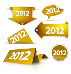 golden 2012 labels stickers pointers tags vector image vector image