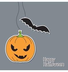 Halloween pumpkin and bat vector image