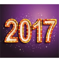 Happy 2017 new year shining retro light vector image vector image