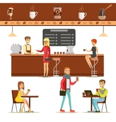 Interior Design And Happy Clients Of A Coffee Shop vector image vector image