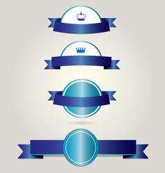 Retro badges with blue ribbons vector image