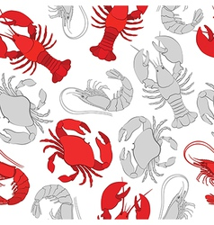 Seafood Lobster crab and prawn vector image