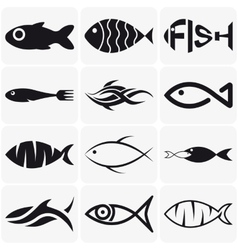 Set of creative black fish icons on white vector image vector image
