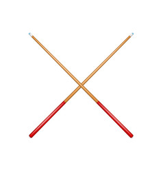 two crossed billiard cues in retro design vector image vector image
