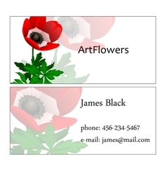 Visit card with floral pattern and sample text vector
