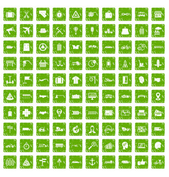 100 delivery icons set grunge green vector image
