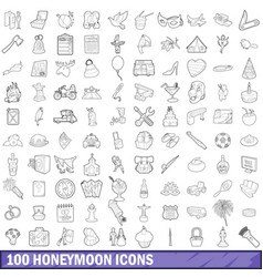 100 honeymoon icons set outline style vector