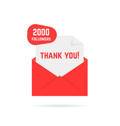 2000 followers thank you card vector image