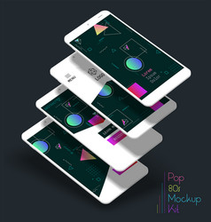 abstract geometric ui screens 3d mockups vector image