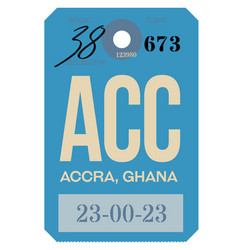 Accra airport luggage tag vector