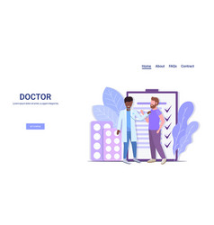 African american doctor checking patient breath or vector