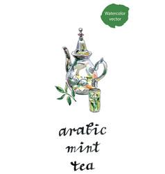 Arabic mint teapot vector