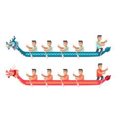 asian men in long boats in shape dragon set vector image