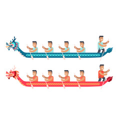 Asian men in long boats in shape of dragon set vector
