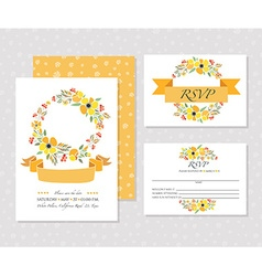 Autumn wedding graphic set with wreaths vector image