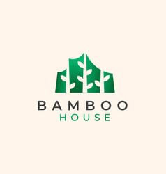 bamboo house logo template vector image
