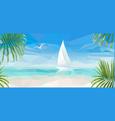 banner blue sea with a white sailboat vector image