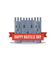bastille fortress with french tricolour flag for vector image