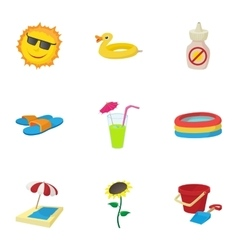 Beach icons set cartoon style vector image