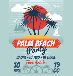 Beach party retro summer poster or flyer vector