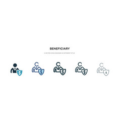 Beneficiary icon in different style two colored vector