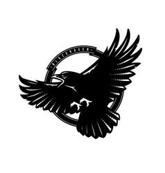 black raven in flight logo emblem vector image