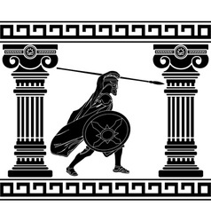 black warrior with with columns second variant vector image