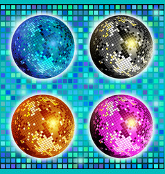Blue gold silver and pink disco ball set of vector