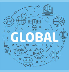 Blue line flat circle global vector