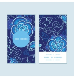 blue night flowers vertical round frame pattern vector image