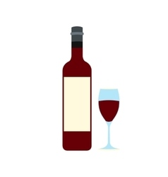 Bottle red wine and glass icon vector