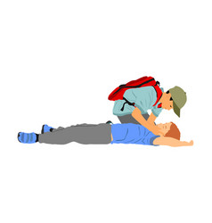 boy helps friend in unconscious after car accident vector image