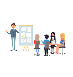 business presentation speaker at board with charts vector image