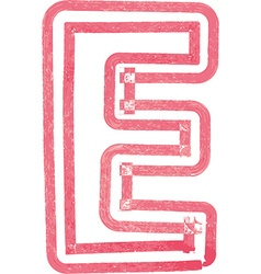 Capital letter E drawing with Red Marker vector image